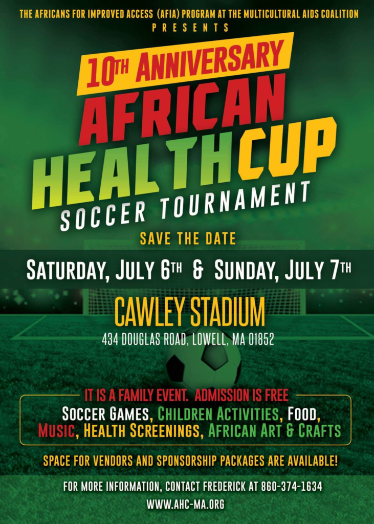 10th Annual African Health Cup Soccer Tournament flyer