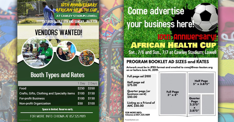 10th Annual African Health Cup Soccer Tournament vending and sponsor flyers